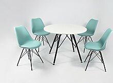 Cavadore Stuhl URSEL 01/Untergestell Schwarz pulverbeschichtet/Kunststoff und Kunstleder Mint/B 48, H 86, T 55,5 cm