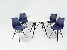 Cavadore Stuhl URSEL 01/Untergestell Schwarz pulverbeschichtet/Kunststoff und Kunstleder Dunkelblau/B 48, H 86, T 55,5 cm
