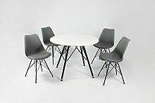Cavadore Stuhl URSEL 01/Untergestell Schwarz pulverbeschichtet/Kunststoff und Kunstleder Grau/B 48, H 86, T 55,5 cm