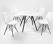 Cavadore Stuhl URSEL 01/Untergestell Schwarz pulverbeschichtet/Kunststoff und Kunstleder Weiß/B 48, H 86, T 55,5 cm