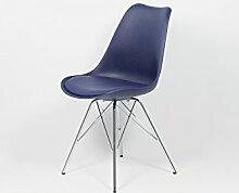 Cavadore Stuhl URSEL 03/2er Set/Untergestell Metall verchromt/Kunststoff und Kunstleder Dunkelblau/B 48, H 86, T 55,5 cm