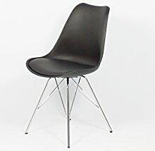 Cavadore Stuhl URSEL 03/2er Set/Untergestell Metall verchromt/Kunststoff und Kunstleder Schwarz/B 48, H 86, T 55,5 cm