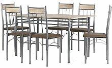 Cavadore Tischgruppe Lola / Tisch in Sonoma Eiche foliert / 6 Stühle mit Lederimitat in Cappuccino / Pflegeleicht/ Tisch 140 x 70 x 74,5cm ; Esszimmerstühle 47 x 43 x 95cm (T x B x H)