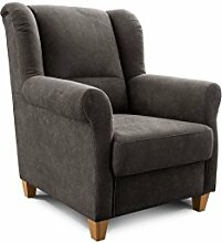 Cavadore TV-Sessel Finja, moderner Armlehnensessel mit Federkern im Landhausdesign, passender Hocker erhältlich, Maße: 87 x 102 x 96 cm (BxHxT), Farbe: Dunkelgrau