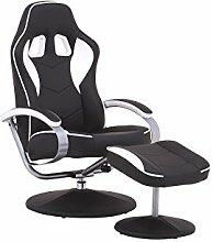 CAVADORE TV-Sessel RACER, Verstellbarer Relax Sessel mit Hocker im Rennfahrer-Design, Lederimitat Schwarz mit Apllikation weiß, Gamer-Sessel mit ergonomischer Rückenlehne, 360° drehbar, 82 x 69 x 108 cm (T x B x H)