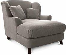 CAVADORE XXL-Sessel Assado/Großer Polstersessel in anthrazit mit Holzfüßen, großer Sitzfläche, Polsterung und 2 weichen Zierkissen/109x104x145 (BxHxT)