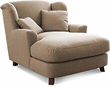 Cavadore XXL-Sessel Assado / Großer Polstersessel in beige mit Holzfüßen, großer Sitzfläche, Polsterung und 2 weichen Zierkissen / 109x104x145 (BxHxT)