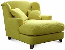 CAVADORE XXL-Sessel Assado/Großer Polstersessel in grün mit Holzfüßen, großer Sitzfläche, Polsterung und 2 weichen Zierkissen/109x104x145 (BxHxT)