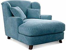 Cavadore XXL-Sessel Assado / Großer Polstersessel in hellblau mit Holzfüßen, großer Sitzfläche, Polsterung und 2 weichen Zierkissen / 109x104x145 (BxHxT)