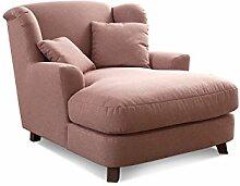Cavadore XXL-Sessel Assado / Großer Polstersessel in rosa mit Holzfüßen, großer Sitzfläche, Polsterung und 2 weichen Zierkissen / 109x104x145 (BxHxT)