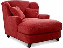 Cavadore XXL-Sessel Assado / Großer Polstersessel in rot mit Holzfüßen, großer Sitzfläche, Polsterung und 2 weichen Zierkissen / 109x104x145 (BxHxT)