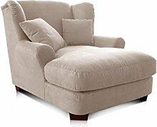 CAVADORE XXL-Sessel/Cremefarbener Polstersessel mit Massivholzfüßen, großer Sitzfläche, Polsterung und 2 weichen Zierkissen/120x99x145 (BxHxT)