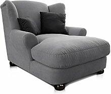 CAVADORE XXL-Sessel/Grauer Polstersessel mit Kugelholzfüßen, großer Sitzfläche, Polsterung und 2 weichen Zierkissen/120x100x145 (BxHxT)