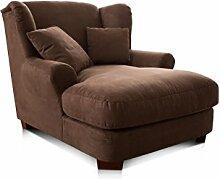 CAVADORE XXL-Sessel Oasis/Brauner Polstersessel mit Massivholzfüßen, großer Sitzfläche, Polsterung und 2 weichen Zierkissen/120x99x145 (BxHxT)