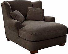 Cavadore XXL-Sessel Oasis / Dunkelbrauner Polstersessel mit Massivholzfüßen, großer Sitzfläche, Polsterung und 2 weichen Zierkissen / 120x99x145 (BxHxT)