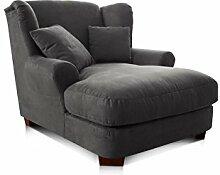 Cavadore XXL-Sessel Oasis / Großer grauer Polstersessel mit Massivholzfüßen, großer Sitzfläche, Polsterung und 2 weichen Zierkissen / 120x99x145 (BxHxT)