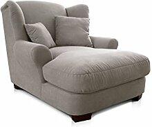 Cavadore XXL-Sessel Oasis / Großer Polstersessel in hellem beige mit Massivholzfüßen, großer Sitzfläche, Polsterung und 2 weichen Zierkissen / 120x99x145 (BxHxT)