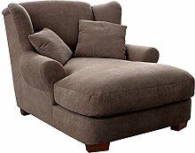Cavadore XXL-Sessel Oasis / Großer Polstersessel in taupe mit Massivholzfüßen, großer Sitzfläche, Polsterung und 2 weichen Zierkissen / 120x99x145 (BxHxT)