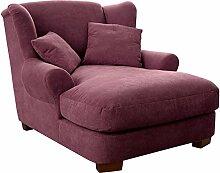 Cavadore XXL-Sessel Oasis / Großer weinroter Polstersessel mit Massivholzfüßen, großer Sitzfläche, Polsterung und 2 weichen Zierkissen / 120x99x145 (BxHxT)