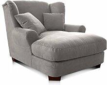 Cavadore XXL-Sessel Oasis / Polstersessel in anthrazit mit Massivholzfüßen, großer Sitzfläche, Polsterung und 2 weichen Zierkissen / 120x99x145 (BxHxT)