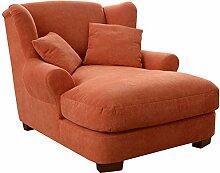 Cavadore XXL-Sessel Oasis / Polstersessel in orange mit Massivholzfüßen, großer Sitzfläche, Polsterung und 2 weichen Zierkissen / 120x99x145 (BxHxT)
