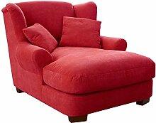CAVADORE XXL-Sessel Oasis/Roter Polstersessel mit Massivholzfüßen, großer Sitzfläche, Polsterung und 2 weichen Zierkissen/120x99x145 (BxHxT)