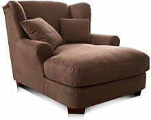 Cavadore XXL-Sessel Oasis / Schokobrauner Polstersessel mit Massivholzfüßen, großer Sitzfläche, Polsterung und 2 weichen Zierkissen / 120x99x145 (BxHxT)