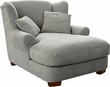 Cavadore XXL-Sessel Oasis / Silberner Polstersessel mit Massivholzfüßen, großer Sitzfläche, Polsterung und 2 weichen Zierkissen / 120x99x145 (BxHxT)