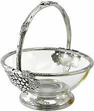 Cavagnini Tischdekoration Korb/Obstschale aus Glas und Zinn, mit verziertem Griff