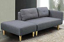 Cavendish Modern STILVOLL 2-Sitzer Stoff Sofa anthrazit grau/hellgrau & Fußhocker, Samt, anthrazit, Two_Seats