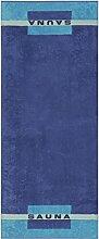 Cawö - Frottier Sauna Tuch (159) , Farbe:Blau (11), Größe:Strandtuch (80 x 200 cm)