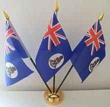 CAYMAN Inseln 3Flagge Desktop Tisch mit Gold Boden