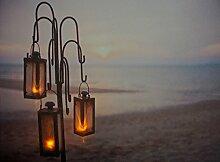 CBK-MS Leuchtbild 3 Laternen am Strand LED Bild