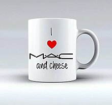 cbuyncu I Love Mac und Käse ROT HERZ Reise Keramik Milch Tasse 11Oz Kaffee Tassen, Tassen Tee Persönlichen Geschenk für Frauen, Männer, Kinder, ihm, Ihr, Vater, Sohn, Tochter, Mutter, Freunde Office Supply Valentine 's Day