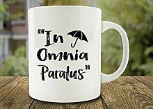 cbuyncu Weihnachten Urlaub in Omnia Paratus Old Sprüche Keramik Milch Tasse 11Oz Kaffee Tasse heißen Tee Tasse Thermobecher Persönlichen Geschenk für Frauen, Männer, Kinder, ihm, Ihr, Vater, Sohn, Tochter, Mutter, Freunde Office Supply