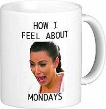 cbuyncu Weinen über Mondays Funny unterwegs aus Keramik Milch Tasse 11Oz Kaffee Tassen, Tassen Tee persoanlized Geschenk für Frauen, Männer, Kinder, ihm, Ihr, Vater, Sohn, Tochter, Mutter, Freunde Office Supply Valentine 's Day