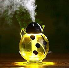 CCCREM Beetle Mini Cartoon Luftbefeuchter 260ml Kapazität Tragbare Rotary Ultraschall Vernebler usb Luftreiniger Automatik Power Protection LED Nachtlicht , yellow