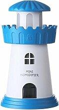 CCCREM Leuchtturm Luftbefeuchter 150ml 2 Spray Patterns Kreative Geschenke Romantische Ultraschall Spray LED Licht USB Portable für Baby Schlafzimmer Auto , blue