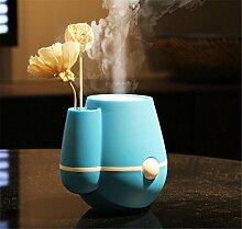 CCCREM Luftbefeuchter Vase Blumentopf Form 220ml Ultraschall-Spray Einsetzen Blume Dekorative USB-negative Sauerstoff-Ionen 2 Stunden Stromschutz , blue