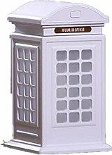 CCCREM Telefon Booth Luftbefeuchter 300ml Kreativer Retro Diffusor Portable Dekorationen LED leuchtet USB Interface , white