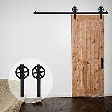 ccjh Schiebetür Barn Holz Schrank Scheunentor Hardware Kit Hardware Track Set für eine Tür, schwarz