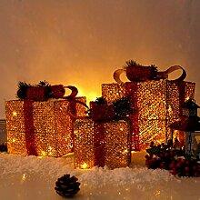 CCLIFE 3er Set LED Geschenkbox Weihnachten