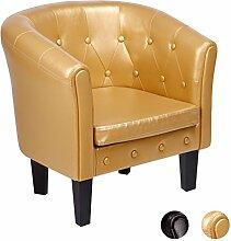 CCLIFE Chesterfield lounge Sessel - Klassisches Design Mit Hochwertige Qualität Für Wohnzimmer, Esszimmer, Büro, 2 jahre Garantie, Farbwahl, Farbe:Gold