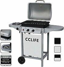 CCLIFE Gasgrill Grillwagen Brenner Seitenkocher