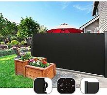 CCLIFE Seitenmarkise Ausziehbar Sichtschutz Windschutz Sonnenschutz - Diverse Farben und Größen, Farbe:Schwarz, Größe:200x300cm
