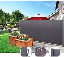 CCLIFE Seitenmarkise Ausziehbar Sichtschutz Windschutz Sonnenschutz - Diverse Farben und Größen, Farbe:Anthrazit, Größe:200x300cm