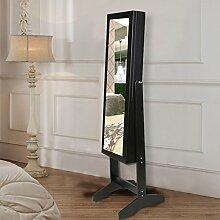 CCLIFE Stehender Schmuckschrank mit Spiegel Spiegelschrank Standspiegel Spiegelschmuckschrank Schmuckkasten und viel Stauraum in Schwarz/weiß, Farbe:Schwarz