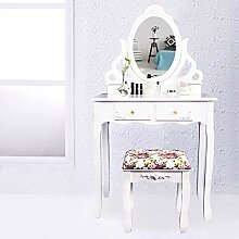 CCLIFE Weiß Schminktisch Frisiertisch mit Spiegel