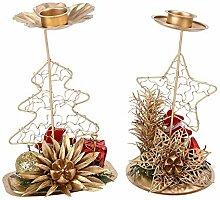CCMOO 2 stücke Weihnachtsbaum Eisen Kerzenhalter