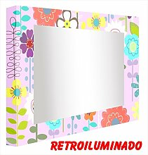 CCRETROILUMINADOS. Badspiegel mit beleuchtung Lila Kind (70_x_120_cm)